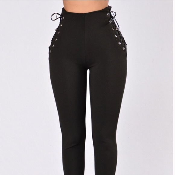 894ddbdcf491bd Fashion Nova Pants   Black Leggings Ties On Side Size S   Poshmark